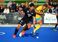 NZ's Kane Russell in action during the Sentinel Homes Trans Tasman Series hockey match between the New Zealand Black Sticks Men and the Australian Kookaburras at Massey University Hockey Turf in Palmerston North, New Zealand on Sunday, 30 May 2021. Photo: Dave Lintott / lintottphoto.co.nz