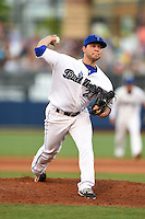 Tulsa Drillers pitcher Richard Castillo (27) delivers a pitch during a game against the Midland RockHounds on May 30, 2014 at ONEOK Field in Tulsa, Oklahoma.  Tulsa defeated Midland 7-1.  (Mike Janes/Four Seam Images)