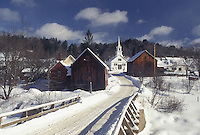 Vermont, Waits River, VT, Scenic village in the snow in the winter.