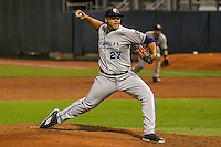West Michigan Whitecaps pitcher Joe Jimenez (27) delivers a pitch during game five of the Midwest League Championship Series against the Cedar Rapids Kernels on September 21st, 2015 at Perfect Game Field at Veterans Memorial Stadium in Cedar Rapids, Iowa.  West Michigan defeated Cedar Rapids 3-2 to win the Midwest League Championship. (Brad Krause/Four Seam Images)