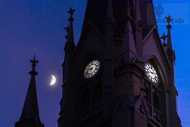 June 27, 2020; Basilica steeple and moon (Photo by Matt Cashore/University of Notre Dame)