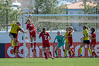 20200307  Lagos , Portugal : Danish forward Sara Holmgaard (18) , Swedish Magdalena Eriksson (6) pictured during the female football game between the national teams of Sweden and Denmark on the second matchday of the Algarve Cup 2020 , a prestigious friendly womensoccer tournament in Portugal , on saturday 7 th March 2020 in Lagos , Portugal . PHOTO SPORTPIX.BE | STIJN AUDOOREN