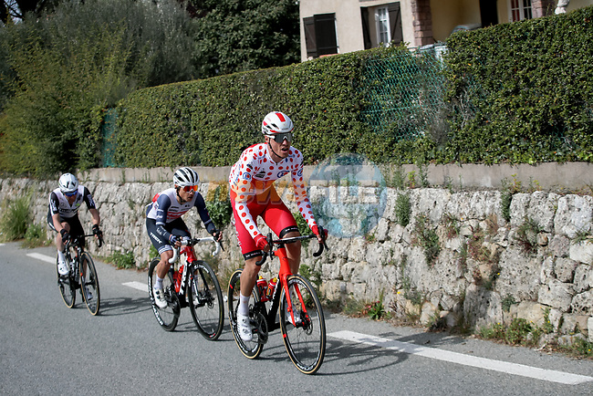 Polka Dot Jersey Anthony Perez (FRA) Cofidis, Kenny Elissonde (FRA) Trek-Segafredo and Victor Campenaerts (BEL) Team Qhubeka Assos in the breakaway during Stage 6 of Paris-Nice 2021, running 202.5km from Brignoles to Biot, France. 12th March 2021.<br /> Picture: ASO/Fabien Boukla | Cyclefile<br /> <br /> All photos usage must carry mandatory copyright credit (© Cyclefile | ASO/Fabien Boukla)
