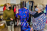 Monica O'Connell enjoying a return to shopping in Divas and Dudes in Castleisland on Monday as Geraldine Canty shows her the latest fashion.
