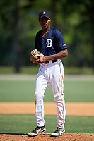 GCL Tigers East starting pitcher Angel De Jesus (9) gets ready to deliver a pitch during a game against the GCL Tigers West on August 8, 2018 at Tigertown in Lakeland, Florida.  GCL Tigers East defeated GCL Tigers West 3-1.  (Mike Janes/Four Seam Images)