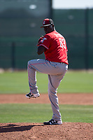 Cincinnati Reds relief pitcher Rafael De Paula (83) during a Minor League Spring Training game against the Chicago White Sox at the Cincinnati Reds Training Complex on March 28, 2018 in Goodyear, Arizona. (Zachary Lucy/Four Seam Images)