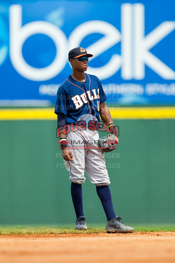 Durham Bulls shortstop Tim Beckham (22) on defense against the Charlotte Knights at Knights Stadium on August 18, 2013 in Fort Mill, South Carolina.  The Bulls defeated the Knights 8-5 in Game One of a double-header.  (Brian Westerholt/Four Seam Images)