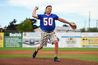 Former Buffalo Bills linebacker Ray Bentley throws out a ceremonial first pitch before a Batavia Muckdogs game against the West Virginia Black Bears on August 21, 2016 at Dwyer Stadium in Batavia, New York.  West Virginia defeated Batavia 6-5. (Mike Janes/Four Seam Images)