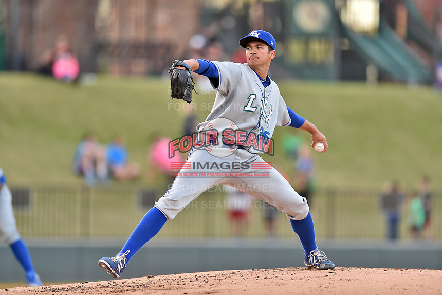 Lexington Legends starting pitcher Andre Davis (36) delivers a pitch during a game against the Greenville Drive at Fluor Field at West End on April 10, 2017 in Greenville, South Carolina. The Legends defeated the Drive 12-4 (Tony Farlow/Four Seam Images)