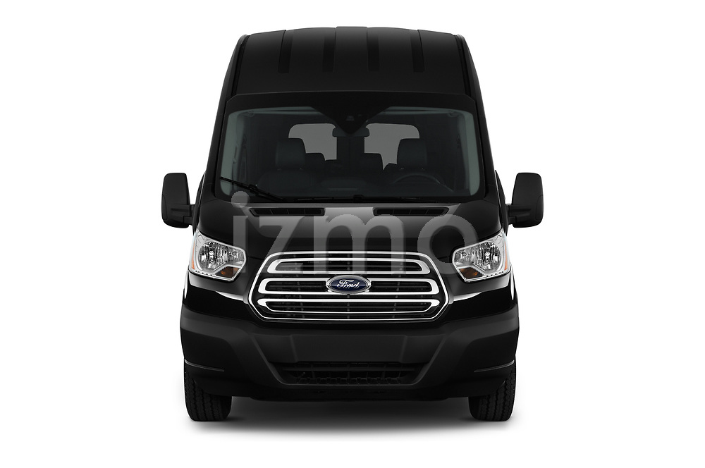 Car photography straight front view of a 2019 Ford Transit Wagon 350 XLT Wagon High Roof Pass Slide 148WB 5 Door Passenger Van