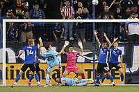 SAN JOSE, CA - AUGUST 17: JT Marcinkowski #1 of the San Jose Earthquakes reacts before a game between Minnesota United FC and San Jose Earthquakes at PayPal Park on August 17, 2021 in San Jose, California.
