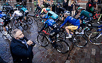 Cycling Legend Freddy Maertens checking out the peloton as they roll through town<br /> <br /> 82nd Gent-Wevelgem in Flanders Fields 2020 (1.UWT)<br /> 1 day race from Ieper to Wevelgem (232km)<br /> <br /> ©kramon