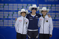 SPEEDSKATING: Calgary, The Olympic Oval, 07-02-2020, ISU World Cup Speed Skating, Podium 1000m Ladies Division B, Nana Takagi (JPN), Kimi Goetz (USA), Arisa Go (JPN), ©foto Martin de Jong