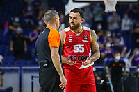 13th October 2021; Wizink Center; Madrid, Spain; Turkish Airlines Euroleague Basketball; game 3; Real Madrid versus AS Monaco; Mike James (AS Monaco) talks with the referee about a decision