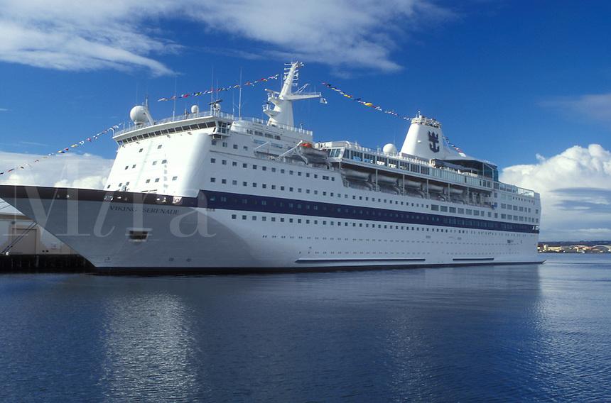 "cruise, San Diego, California, CA, Cruise Ship """"Viking Serenade"""" docked in San Diego Harbor in San Diego."
