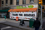 """April 21, 2020<br /> New York, New York<br /> <br /> A """"Thank You"""" sign near NYU Medical Center and Tisch Hospital during the coronavirus pandemic."""