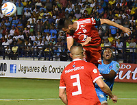 MONTERIA - COLOMBIA, 15-03-2018: Kevin Londoño (Der) jugador de Jaguares FC disputa el balón con Diego Herner (Izq) jugador de América de Cali durante partido por la fecha 8 de la Liga Aguila I 2018 jugado en el estadio Municipal de Monteria. / Kevin Londoño (R) player of Jaguares FC vies for the ball with Diego Herner (L) player of America de Cali during a match for the date 8 of the Liga Aguila I 2018 at the Municipal de Monteria Stadium in Monteria city. Photo: VizzorImage / Andres Felipe Lopez / Cont