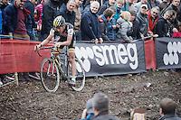 race leader Tom Meeusen (BEL/Telenet-Fidea) coming through<br /> <br /> Jaarmarktcross Niel 2015  Elite Men & U23 race