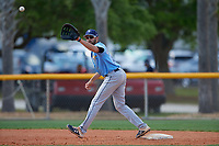 Tampa Bay Rays first baseman Zach Rutherford (14) stretches for a throw during a Minor League Spring Training game against the Boston Red Sox on March 25, 2019 at the Charlotte County Sports Complex in Port Charlotte, Florida.  (Mike Janes/Four Seam Images)