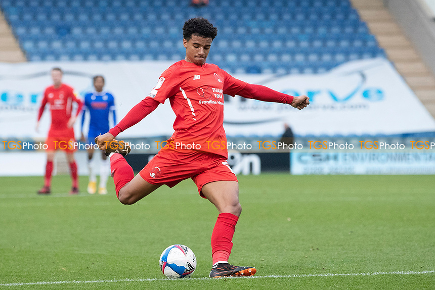 Louis Dennis, Leyton Orient takes a shot at goal during Colchester United vs Leyton Orient, Sky Bet EFL League 2 Football at the JobServe Community Stadium on 14th November 2020