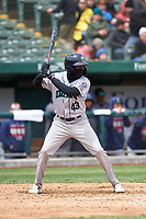 Cedar Rapids Kernels Yeltsin Encarnacion (43) at bat during a Midwest League game against the South Bend Cubs at Four Winds Field on May 8, 2019 in South Bend, Indiana. South Bend defeated Cedar Rapids 2-1. (Zachary Lucy/Four Seam Images)