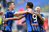 Luis Muriel of Atalanta BC (C) celebrates after scoring the goal of 0-2 with Alejandro Papu Gomez (R) and Robin Gosens of Atalanta <br /> Roma 19-10-2019 Stadio Olimpico <br /> Football Serie A 2019/2020 <br /> SS Lazio - Atalanta<br /> Foto Andrea Staccioli / Insidefoto