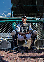 20 June 2021: Vermont Lake Monsters catcher Matt DePrey, from Sun Prairie, WI, awaits the start of play against the Westfield Starfires at Centennial Field in Burlington, Vermont. The Lake Monsters fell to the Starfires 10-2 at Centennial Field, in Burlington, Vermont. Mandatory Credit: Ed Wolfstein Photo *** RAW (NEF) Image File Available ***