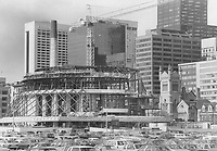 1980 FILE PHOTO - ARCHIVES -<br /> <br /> FILE PHOTO June; 1980: <br /> <br /> An emerging landmark at left; the shape of New Massey Hall became apparent to Torontonians in spring of 1980.