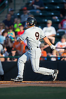 Drew Turbin (9) of the Delmarva Shorebirds follows through on his swing against the Hickory Crawdads at L.P. Frans Stadium on June 18, 2016 in Hickory, North Carolina.  The Shorebirds defeated the Crawdads 4-2 in game two of a double-header.  (Brian Westerholt/Four Seam Images)