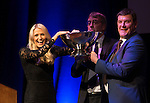 St Johnstone FC Hall of Fame Dinner, Perth Concert Hall….03.04.16<br />Sky Sports presenter Jo Wilson draws the raffle with Tommy Wright and Gordon Bannerman<br />Picture by Graeme Hart.<br />Copyright Perthshire Picture Agency<br />Tel: 01738 623350  Mobile: 07990 594431