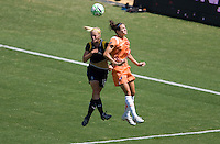 Sky Blue FC defender Keeley Dowling and LA Sol's Katie Larkin go head to had for a ball late in the Championship match. The Sky Blue FC defeated the LA Sol 1-0 to win the WPS Final Championship match at Home Depot Center stadium in Carson, California on Saturday, August 22, 2009...