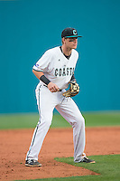 Coastal Carolina Chanticleers third baseman Zach Remillard (7) on defense against the Bryant Bulldogs at Springs Brooks Stadium on March 13, 2015 in Charlotte, North Carolina.  The Chanticleers defeated the Bulldogs 7-2.  (Brian Westerholt/Four Seam Images)