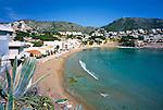 Spain, Costa Blanca, Moraira: View over Moraira beach | Spanien, Costa Blanca, Moraira: Strand