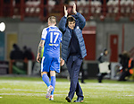 Hamilton Accies v St Johnstone…09.12.17…  New Douglas Park…  SPFL<br />Tommy Wright applauds the travelling saints fans at full time<br />Picture by Graeme Hart. <br />Copyright Perthshire Picture Agency<br />Tel: 01738 623350  Mobile: 07990 594431