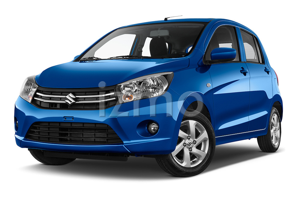 Stock pictures of low aggressive front three quarter view of a 2015 Suzuki CELERIO Grand Luxe Xtra 5 Door Hatchback Low Aggressive