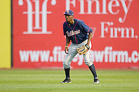 Right fielder Abner Abreu #34 of the Kinston Indians on defense against the Salem Red Sox at Lewis-Gale Field May 1, 2010, in Winston-Salem, North Carolina.  Photo by Brian Westerholt / Four Seam Images