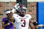 Texas A&M Aggies running back Trey Williams (3) in action during the game between the Texas A&M Aggies and the SMU Mustangs at the Gerald J. Ford Stadium in Fort Worth, Texas. A&M leads SMU 38 to 3 at halftime.