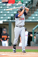 Toledo Mudhens first baseman Jordan Lennerton #12 during a game against the Rochester Red Wings on June 11, 2013 at Frontier Field in Rochester, New York.  Toledo defeated Rochester 9-5.  (Mike Janes/Four Seam Images)