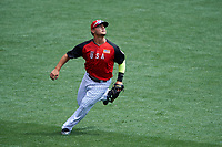 Team USA outfielder Michael Conforto (8) gets under a fly ball during the MLB All-Star Futures Game on July 12, 2015 at Great American Ball Park in Cincinnati, Ohio.  (Mike Janes/Four Seam Images)