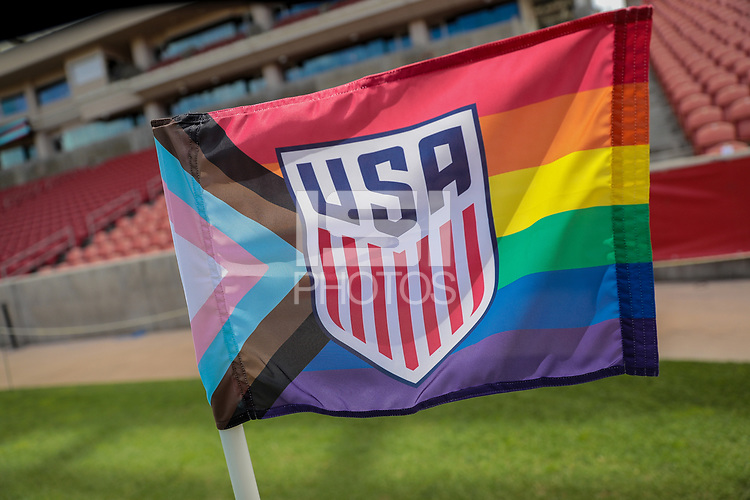 SANDY, UT - JUNE 10: USA corner flag before a game between Costa Rica and USMNT at Rio Tinto Stadium on June 10, 2021 in Sandy, Utah.