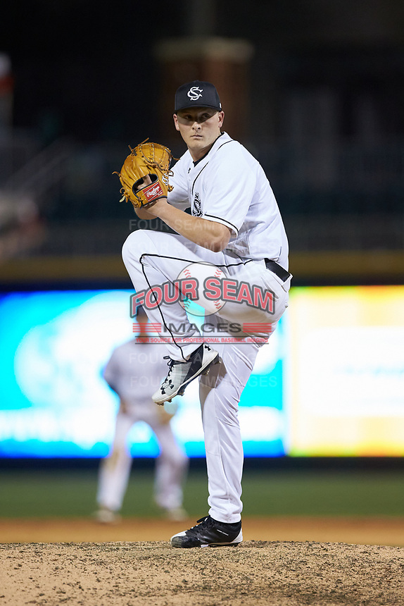 South Carolina Gamecocks relief pitcher Graham Lawson (13) in action against the North Carolina Tar Heels at BB&T BallPark on April 3, 2018 in Charlotte, North Carolina. The Tar Heels defeated the Gamecocks 11-3. (Brian Westerholt/Four Seam Images)