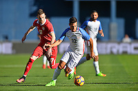 San Diego, CA - Sunday January 29, 2017: Lazar Jovanovic, Benny Feilhaber during an international friendly between the men's national teams of the United States (USA) and Serbia (SRB) at Qualcomm Stadium.