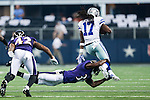 Dallas Cowboys wide receiver Dwayne Harris (17) and Baltimore Ravens strong safety Jeromy Miles (36) in action during the pre-season game between the Baltimore Ravens and the Dallas Cowboys at the AT & T stadium in Arlington, Texas. Baltimore defeats Dallas  37-30.