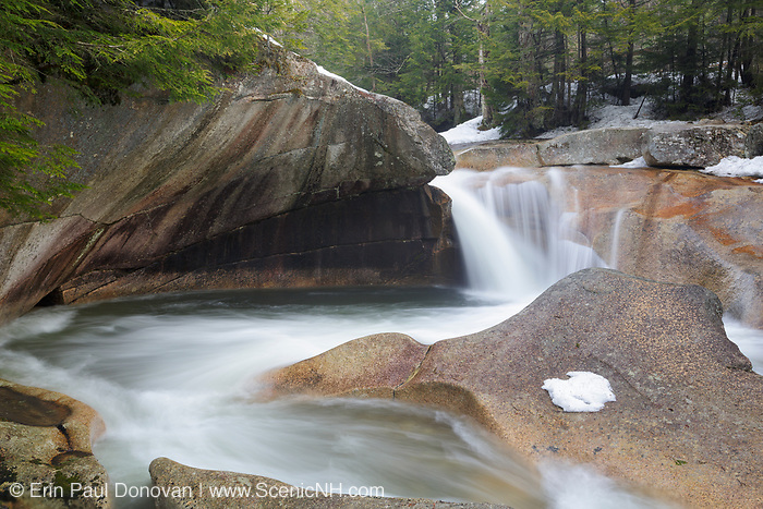 """""""The Basin"""" in Franconia Notch State Park in Lincoln, New Hampshire during the spring months. This a natural feature along the Pemigewasset River."""