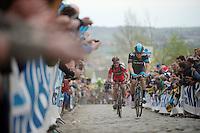 Bernie Eisel (AUT/SKY) & Manuel Quinziato (ITA/BMC) over the Oude Kwaremont<br /> <br /> Ronde van Vlaanderen 2014