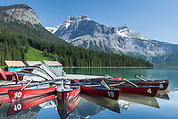 Boat dock and canoes for rent on Emerald Lake, Yohon National Park