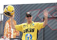 Apr. 6, 2013; Las Vegas, NV, USA: NHRA pro stock driver Jeg Coughlin during the K&N Horsepower Challenge during qualifying for the Summitracing.com Nationals at the Strip at Las Vegas Motor Speedway. Mandatory Credit: Mark J. Rebilas-