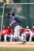 Atlanta Braves infielder Daniel Castro (1) during a minor league spring training game against the Washington Nationals on March 26, 2014 at Wide World of Sports in Orlando, Florida.  (Mike Janes/Four Seam Images)