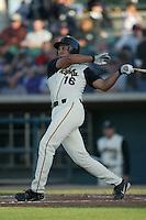 Jamie D'Antona of the Lancaster JetHawks bats during a 2004 season California League game against the Lancaster JetHawks at The Hanger in Lancaster, California. (Larry Goren/Four Seam Images)