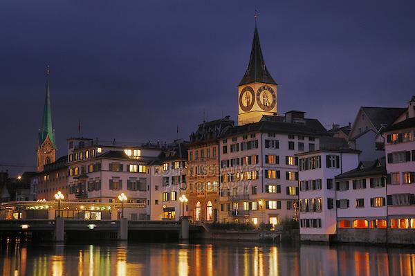 Peterskirche and Frauenmuenster, Zurich, Switzerland